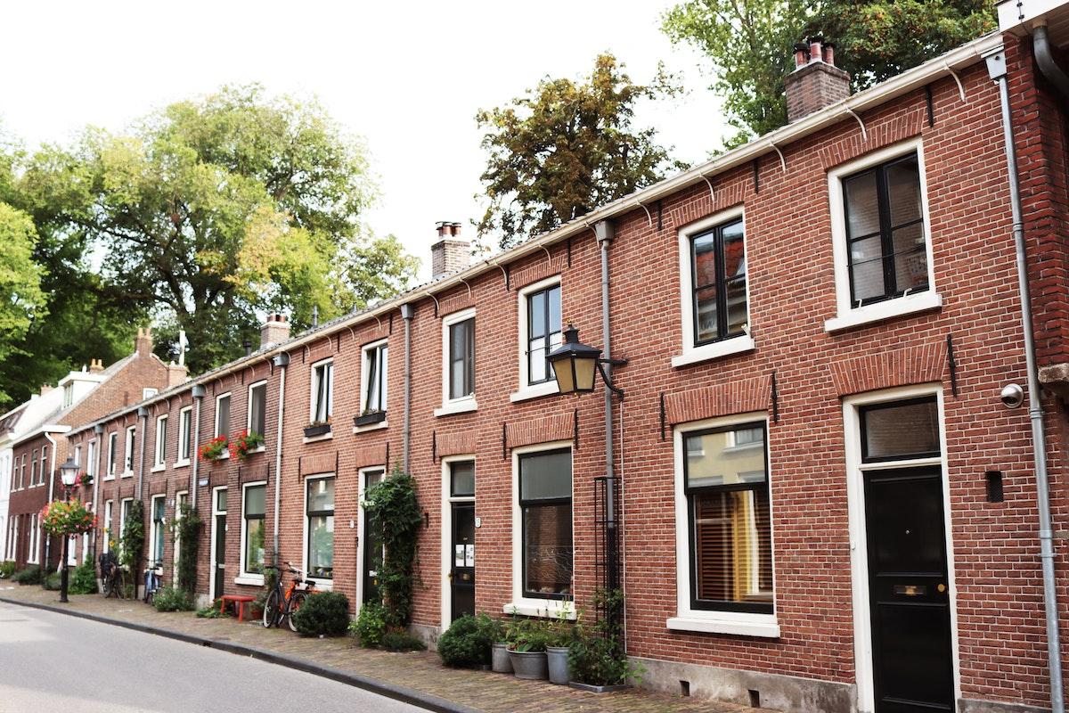 Row of red brick houses
