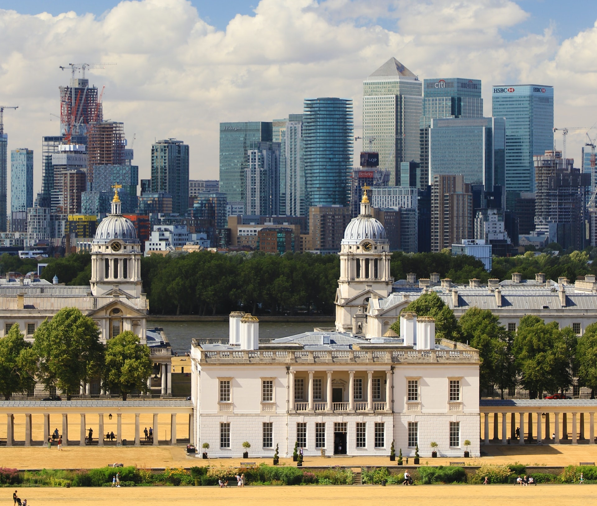 An image of Greenwich university and canary wharf in the background