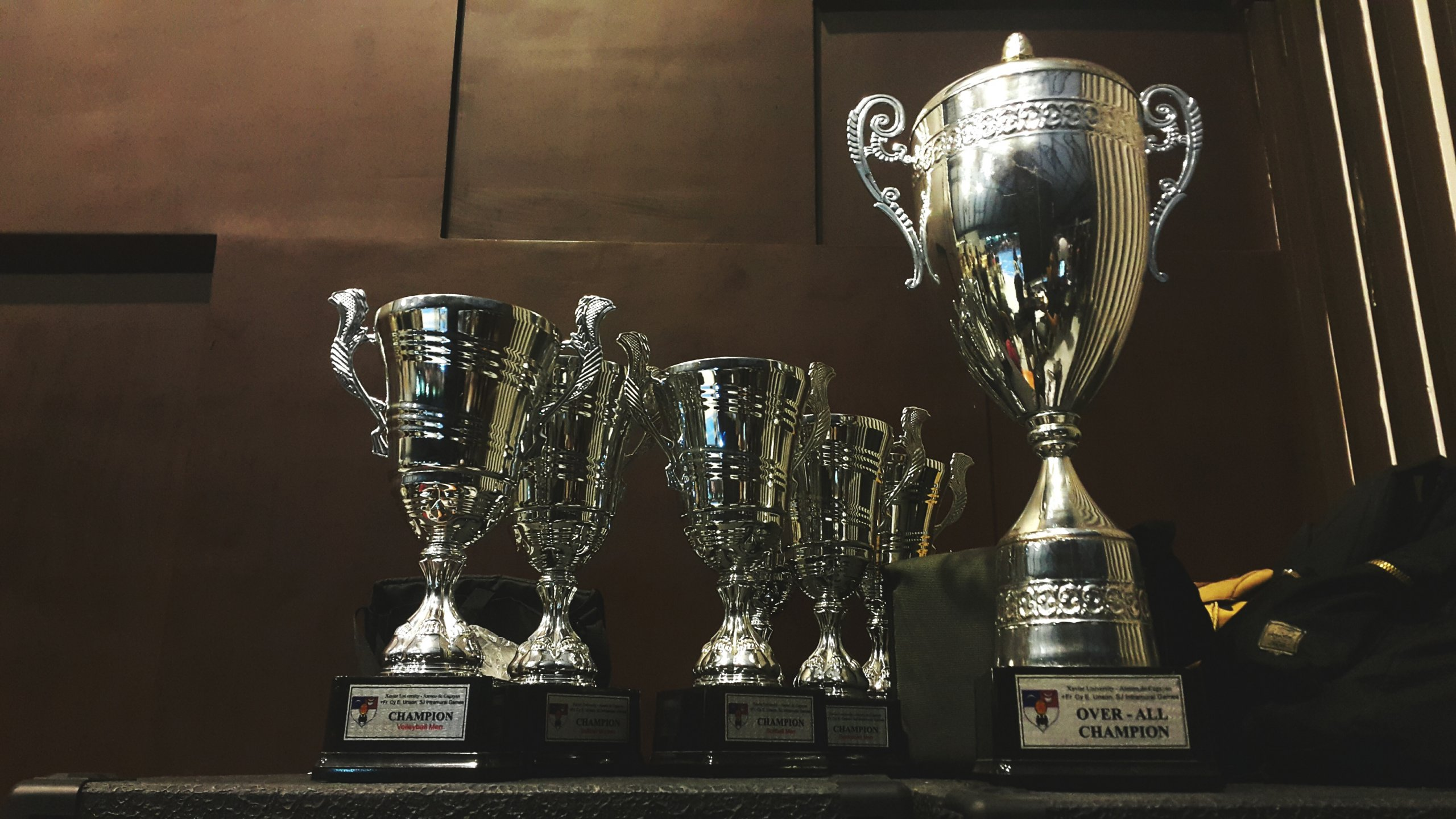 A collection of silver trophies